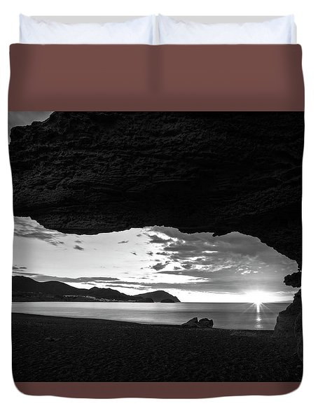 The Beach Of The Sculptures At Dawn In Almeria Duvet Cover