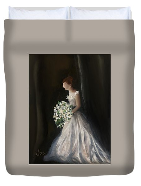 Duvet Cover featuring the painting The Big Day by Fe Jones