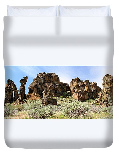 Arches Hoodoos And Castles The Big Picture Little City Of Rocks Duvet Cover
