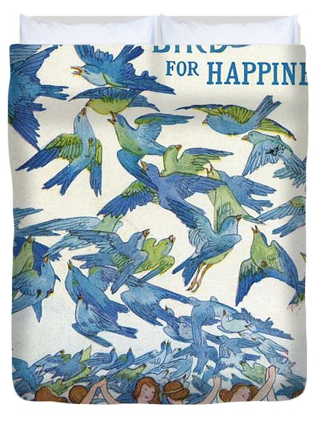 The Blue Bird For Happiness Duvet Cover