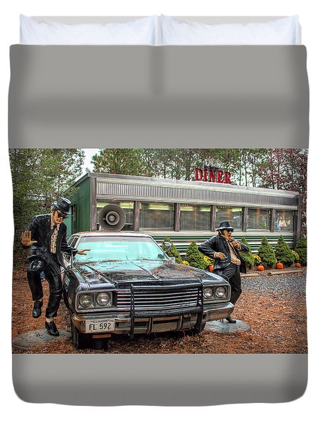 Duvet Cover featuring the photograph The Blues Brothers At A Diner by Kristia Adams