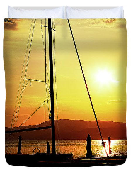 Duvet Cover featuring the photograph the Boat and the Sky by Milena Ilieva