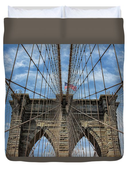 Duvet Cover featuring the photograph The Brooklyn Bridge by Robert Bellomy