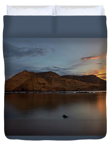 The Closed Cove In Aguilas At Sunset, Murcia Duvet Cover