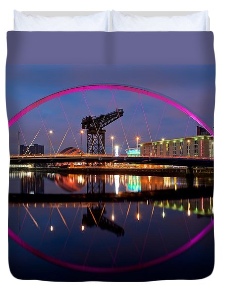 Duvet Cover featuring the photograph The Clyde Arc Reflected by Stephen Taylor