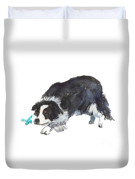 The Collie And Blue Butterfly Duvet Cover