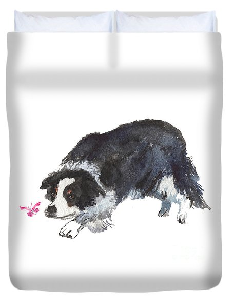 The Collie And Pink Butterfly Duvet Cover