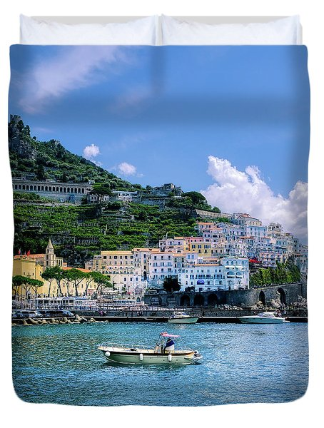 Duvet Cover featuring the photograph The Colorful Amalfi Coast  by Robert Bellomy