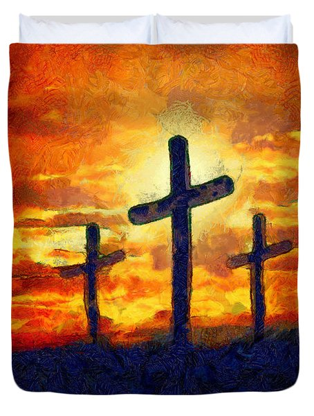Duvet Cover featuring the painting The Cross by Harry Warrick