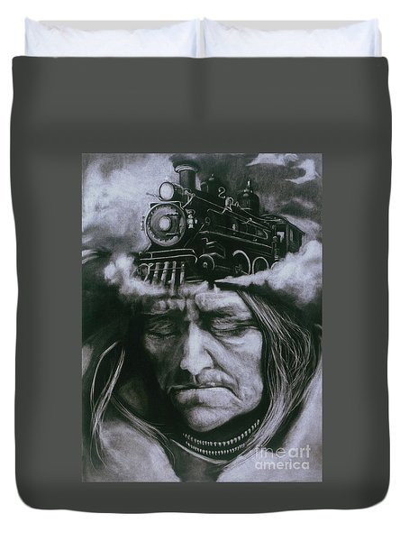 Duvet Cover featuring the drawing The Demise by Donna Hall