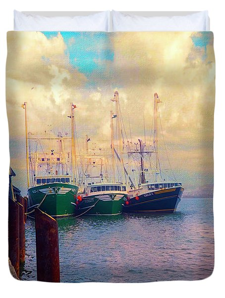 The Docks At Cape May Duvet Cover