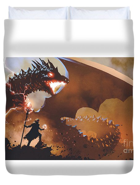 Duvet Cover featuring the painting The Dragon Wizard by Tithi Luadthong