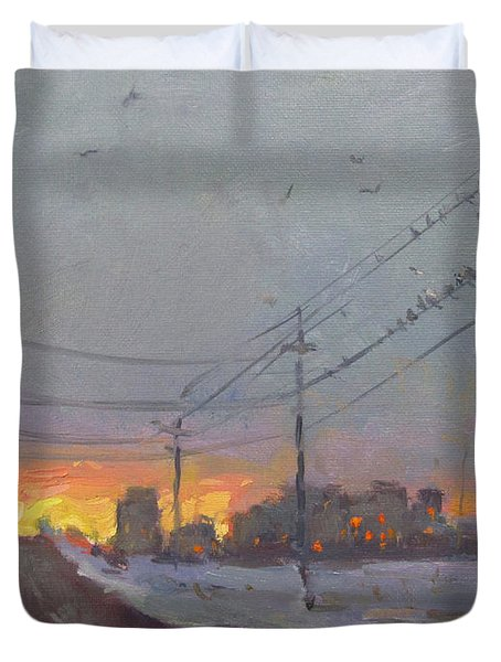 The End Of A Gray Day Duvet Cover