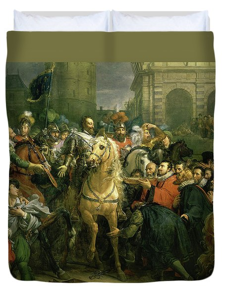 The Entry Of Henri Iv Into Paris Duvet Cover