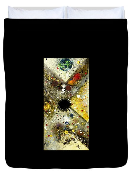 Duvet Cover featuring the painting The Escape Artist by 'REA' Gallery