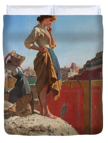 The Excavations Of Pompeii Duvet Cover