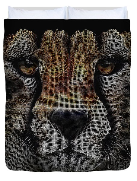 Duvet Cover featuring the digital art The Face Of A Cheetah by ISAW Company