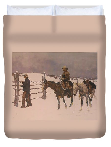 The Fall Of The Cowboy Duvet Cover