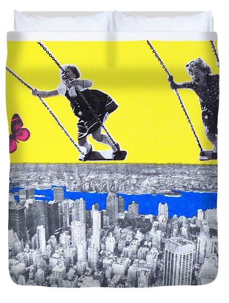 The Flying Girls, 2016, (mixed Media) Duvet Cover