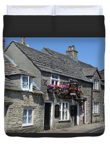 The Fox Inn At Corfe Castle Duvet Cover