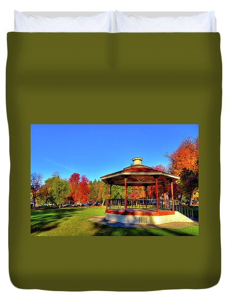 Duvet Cover featuring the photograph The Gazebo At Reaney Park by David Patterson