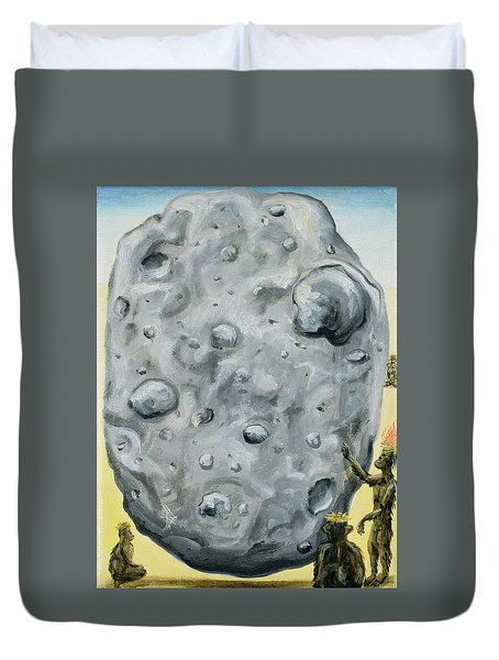 Duvet Cover featuring the painting The Gift Of Fire by Ryan Demaree