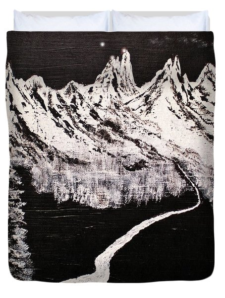 The Grand Tetons In Abstract Realism Duvet Cover