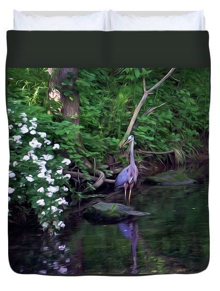 The Great Blue Heron - Impressionism Duvet Cover