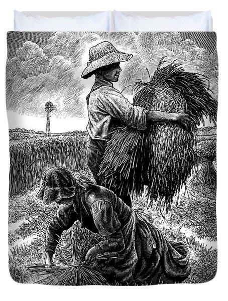 The Harvesters - Bw Duvet Cover