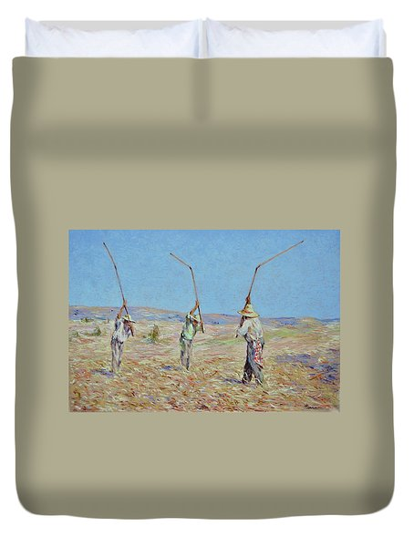 The Haymakers - Pierre Van Dijk 70x90cm Oil Duvet Cover
