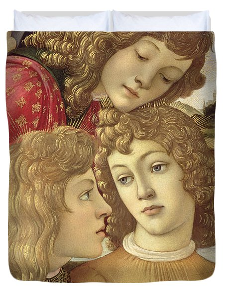 The Madonna Of The Magnificat, Detail Of Three Boys, 1482 Duvet Cover