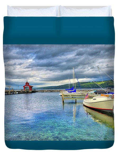 Duvet Cover featuring the photograph The Marina At Seneca Lake - Finger Lakes, New York by Lynn Bauer
