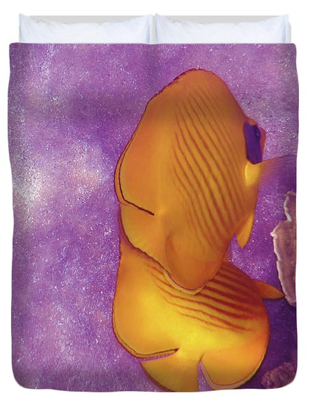 The Masked Butterflyfish Purple Duvet Cover
