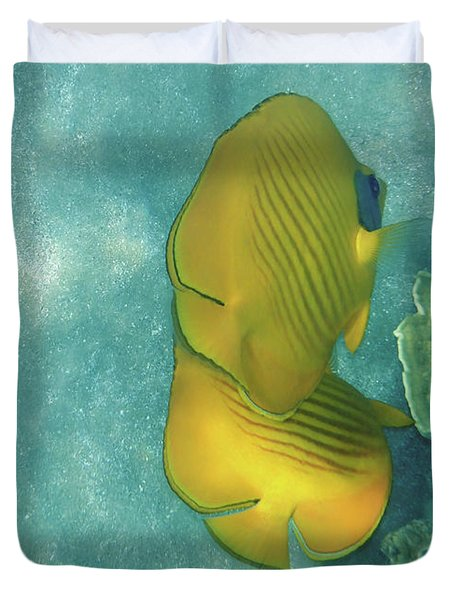 The Masked Butterflyfish Turquoise Duvet Cover