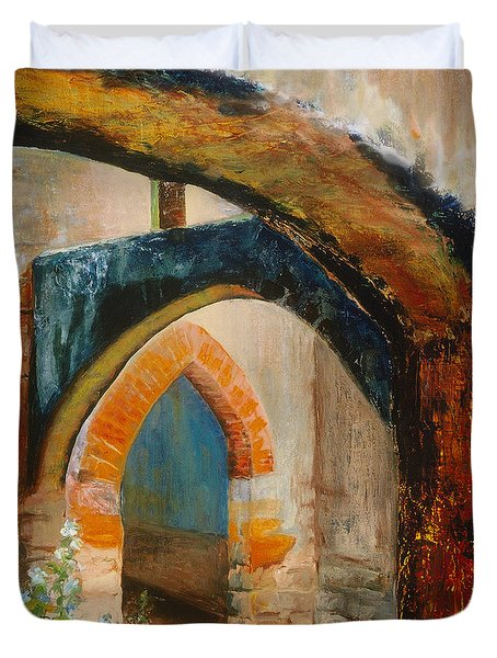 Duvet Cover featuring the painting The Mission by Donna Hall