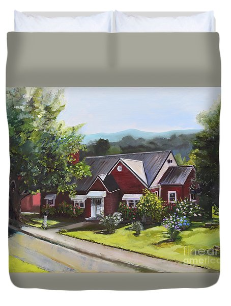 Duvet Cover featuring the painting The Old Baptist Parsonage-heaven On North Ave by Jan Dappen