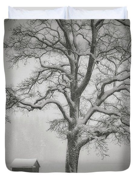 Duvet Cover featuring the photograph The Old Oak by Edmund Nagele