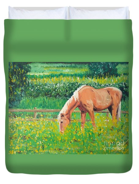The Palomino And Buttercup Meadow Duvet Cover