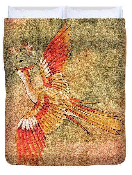 The Peahen's Gift - Kimono Series Duvet Cover
