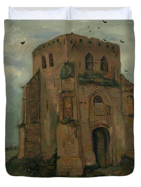 The Peasants Churchyard, The Old Church Tower Duvet Cover