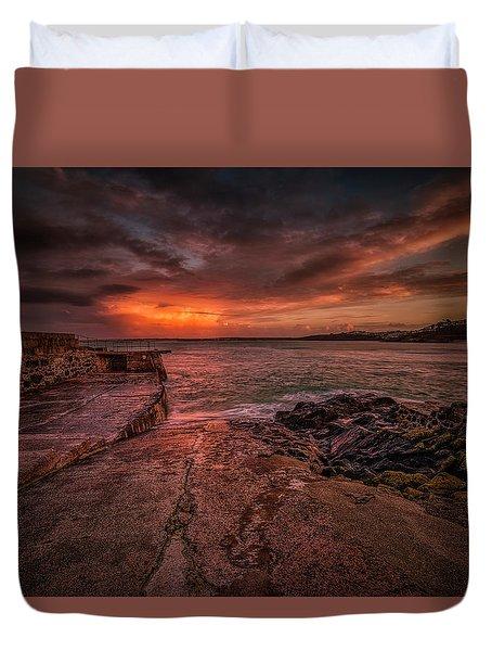 The Pier Sunset Duvet Cover