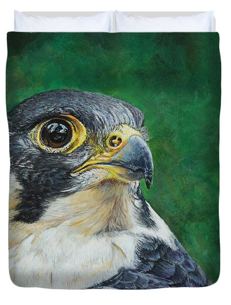 The Proud Peregrine....fastest Creature On The Planet Duvet Cover