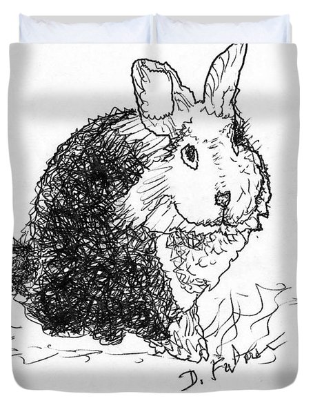 The Rabbit Lady Drawing Duvet Cover