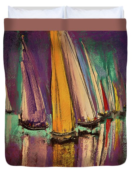 Duvet Cover featuring the pastel The Race by David Patterson