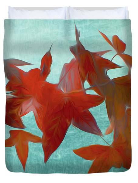The Red Leaves Duvet Cover
