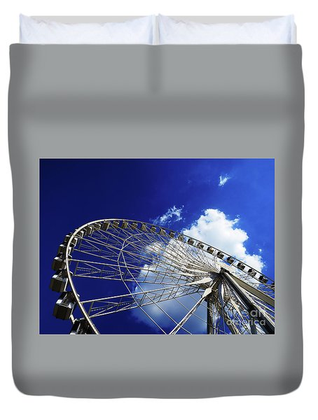 Duvet Cover featuring the photograph The Ride To Acrophobia by Rick Locke