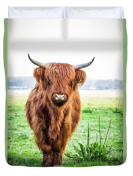 Duvet Cover featuring the photograph The Scottish Highlander by Anjo Ten Kate