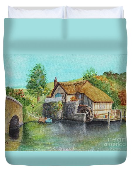 Duvet Cover featuring the painting The Shire by Karen Fleschler