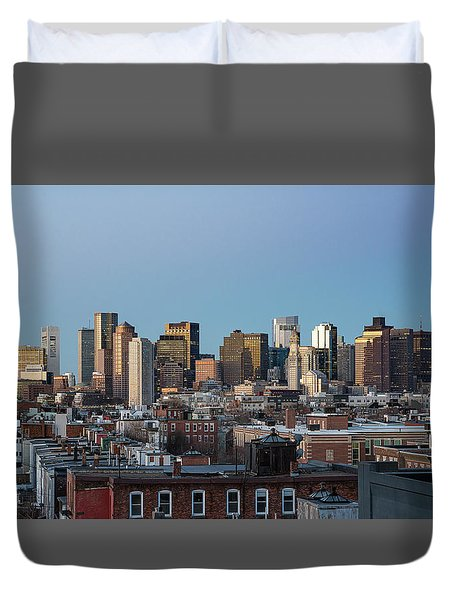The Skyline Of Boston In Massachusetts, Usa On A Clear Winter Ev Duvet Cover
