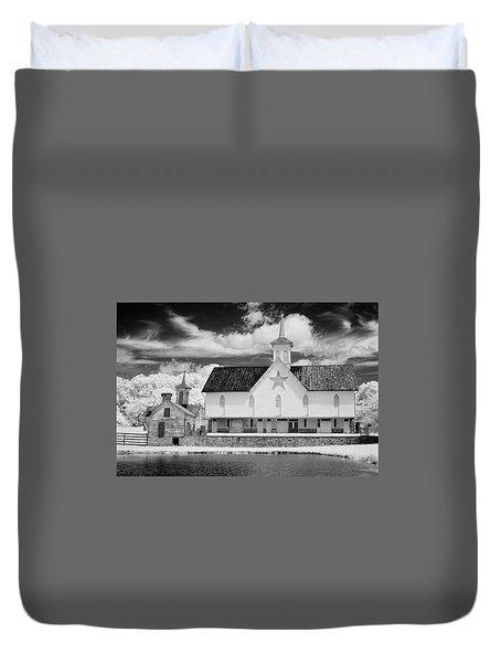 The Star Barn In Infrared Duvet Cover